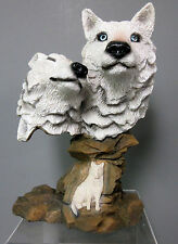New Sculpted 2 White Wolf Head Bust Engraved 3 Wolves Figurine Statue Figure