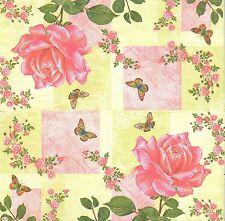 2 Serviettes en papier Décor Fleur Rose Papillon Paper Napkins Flower Butterfly