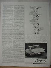 1961 Ford Falcon Car Peanuts Linus Cartoon Vintage Print Ad 10303