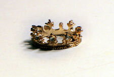 'The Crown' Gold Color Ring with 3 Simulated Diamond Chips Size 6