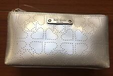KATE SPADE SILVER  GRAY PERFORATED HEART COLLECTION COSMETIC BAG METRO SPADE