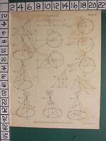 1807 Datato Antico Stampa ~Conics~ Vari Diagrammi