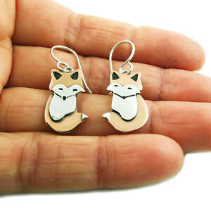 Fox 925 Sterling Silver and Copper Animal Inspired Earrings Gift Boxed