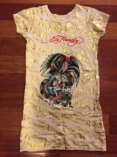 Women's Ed Hardy Gold Foil Tiger Tunic T-Shirt Top Crystals Rhinestones Size XS