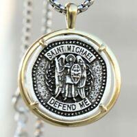 Heavy Saint Michael Medal Handmade Travelers Pendant Necklace Box Chain