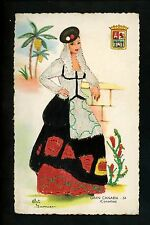 Embroidered clothing postcard Artist Elsi Gumier, Spain Canary Islands woman #54