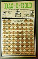 VTG 1940s Bag O Gold 10 Cent Play Jackpot Punch Board Gambling Unused NewOldStck