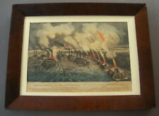 "Vintage Currier & Ives ""Bombardment of Island 'Number Ten ..."" c.1862"