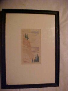 Vintage SIGNED Dean Babcock Original Block Print of Last Pines 13 No. 140 Framed