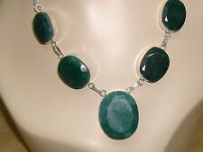 BEAUTIFUL STERLING PLATED LARGE FACETED GENUINE EMERALD CABOCHONS NECKLACE!