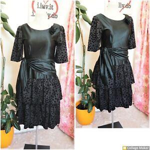 Vintage 80s Ultimate Black Velvet Dalmation Print Ra Ra Party Midi Dress Size 14