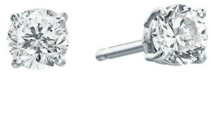 NEW 3/8 CT Round Cut Diamond Stud Solitaire Earrings 10K White Gold