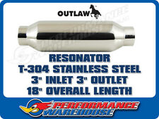 "OUTLAW RESONATOR T-304 POLISHED STAINLESS STEEL 3"" IN/OUT X 18"" LENGTH"