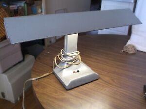 Vintage Industrial Metal Desk Lamp Light, Retro mid century, Working fluorescent