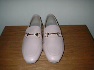 LTS PALE PINK/NUDE LEATHER SNAFFLE BAR SLIP ON LOAFERS SIZE UK 7 EUR 41 RRP £80