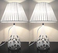 Pair Deco Designer New Modern Table Bedside Desk Lamps Silver Shade Metal Base