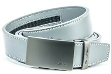 Railtek Belts - Men's One Size Ratchet Belt -Gunmetal Buckle Grey Leather