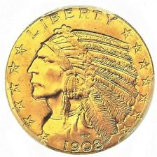 1908 USA  5 $ 24-K Gold plated Indian Head andHalf Eagle Coin gap filler