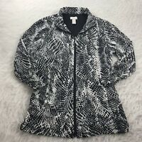 CHICO'S Women's Size 0 (Small) Top Black White Animal Print Zip-Up 3/4 Sleeve
