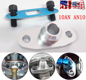 Turbo Oil Drain Outlet Flange Gasket Adapter Kit 10AN AN10 Male Fitting T04 T3/4