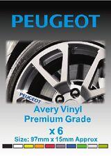 PEUGEOT Alloy Wheel Vinyl Stickers - Graphics X 6