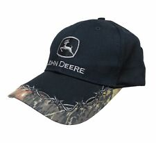 JOHN DEERE BLACK CAMOUFLAGE LOGO CAP WITH BARBED WIRE PRINT ON BRIM NEW