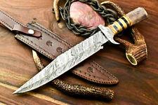 Rare Custom Handmade Damascus Steel Blade Bowie Hunting Knife   Farms Camel Bone