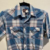 Wrangler Mens Medium Short Sleeve Pearl Snap Blue Plaid Check Western Shirt