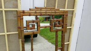 Faux Bamboo Mirror Greek Key Asian Oriental Hollywood Regency Pagoda Palm Beach