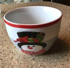 Holly Berry Snowman Fitz And Floyd 1 Bowl 3� Tall 4� Across