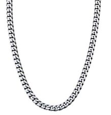 """Inox Jewelry Stainless Steel Gun Metal Brushed Curb Chain Necklace 22"""""""
