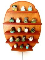 WALL WOOD CURIO DISPLAY COLLECTIBLE SHELF - RESIN MINIATURE ANIMALS