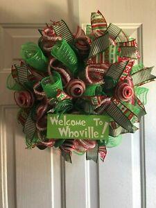Welcome to Whoville Front Door Deco Mesh Wreath, Winter Door Decoration Grinch