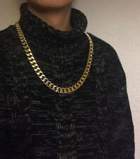 "28"" 15mm Gold Plated Aluminum Gangsta Hip Chain No Stone Necklace Birthday Gift"
