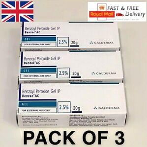 3x Benzoyl Peroxide Gel 2.5% for Acne Vulgaris Spot Blackhead Pimples 20g Benzac