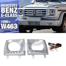 Head Lamp Cover With DRL Silver Painted For Mercedes Benz 1990-2016 G Class W463