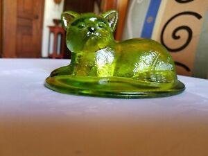 VINTAGE WESTMORELAND MID CENTURY GREEN GLASS CAT BASKET LID ONLY