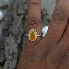 Natural Yellow Sapphire Gemstone Oval Faceted Beautiful Ring Gift For Her