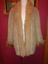 LANE BRYANT BEIGE FAUX SUEDE & FAUX FUR LINING W/HOOD & EMBROIDERY 22/24 NEW