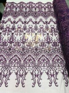 Plum Beaded Fabric - Fancy Beaded Embroidered Damask Fabric By The Yard