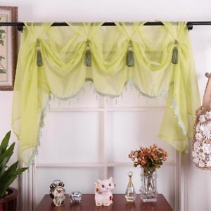 European Style Luxury Tulle Valance Curtain Green Pink Living Room Kitchen Sheer