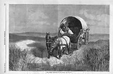 The Whisky Peddler on the Plains  -  Old Wagon  -  1870 Antique Print