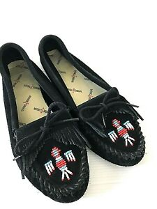 Minnetonka Thunderbird Moccasin Slipper Womens Size 9 Black Leather Beaded