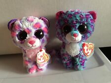 """Ty Beanie Boo Leopards Serena & Dreamer 6"""" Justice Exclusives Mwmts"""