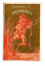 Victorian Trade Card BROWNINGS CLOTHING Phila boy fishing