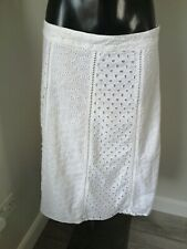 Per Una Size 12 Pure Cotton Over Knee Length White Lined Skirt
