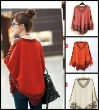 New Boho Tribal Indie Bohemian Poncho Cape Jumper Womens Pullover Wool Cotton