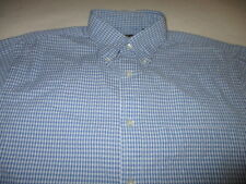 Arrow Mens S Button Down Cotton Blend S/S Shirt Blue & White Check Seersucker