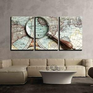 """Wall26 - Vintage Magnifying Glass on an Old Map - CVS - 16""""x24""""x3 Panels"""