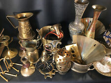 Lot of Vintage Brass Vases, Candle holders, Pitchers 12+ Pounds